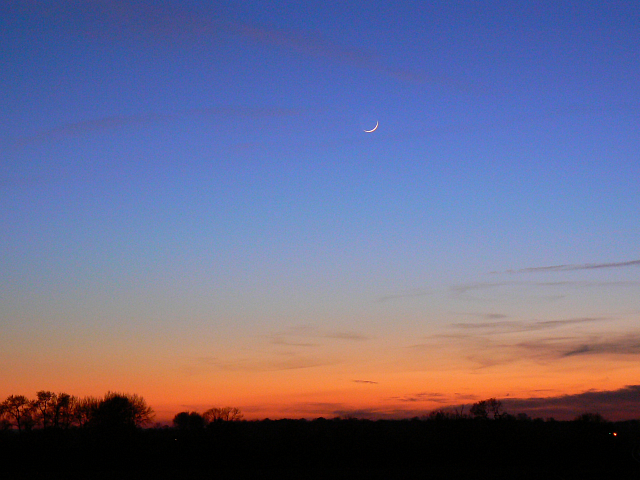 New moon at sunset, near Compton Beauchamp
