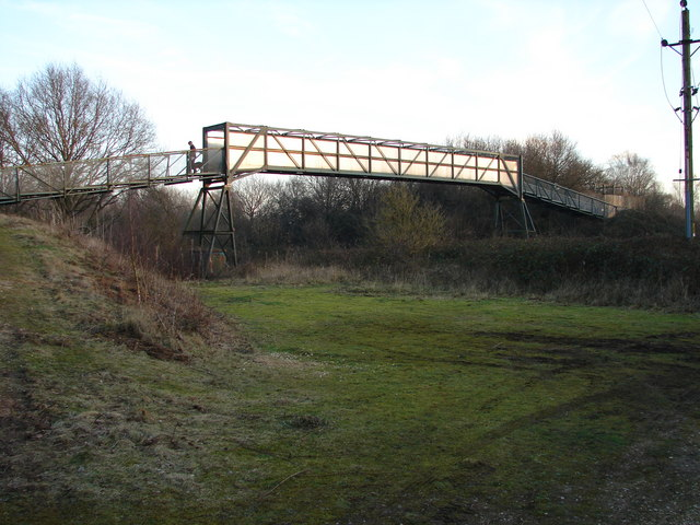 Footbridge over the Railway Line at Whisby Nature Park