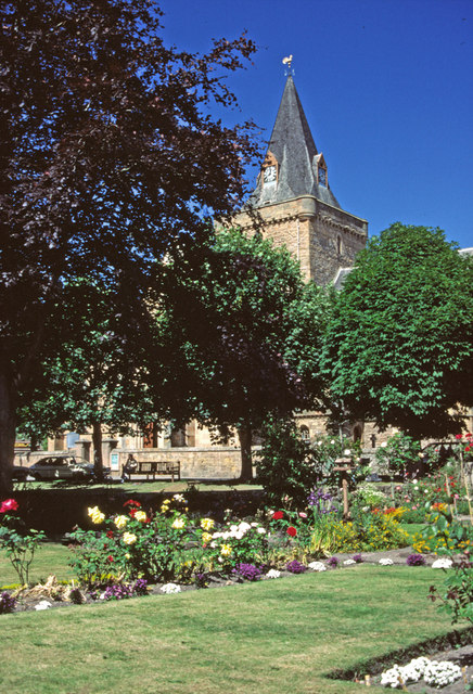 Garden at Dornoch with Cathedral.