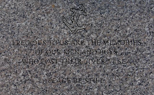 Plaque on the Portknockie fishermen's memorial