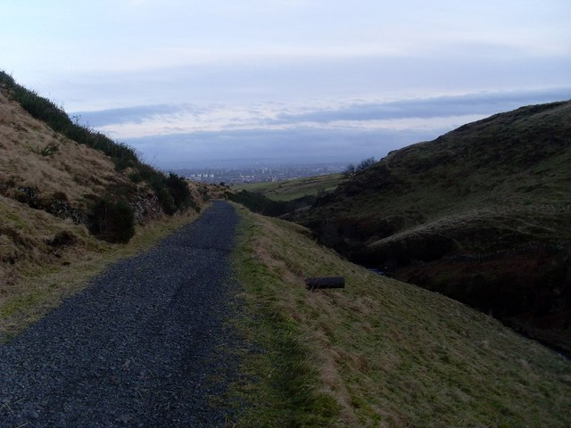 View to Glasgow from valley of Loch Humphrey Burn