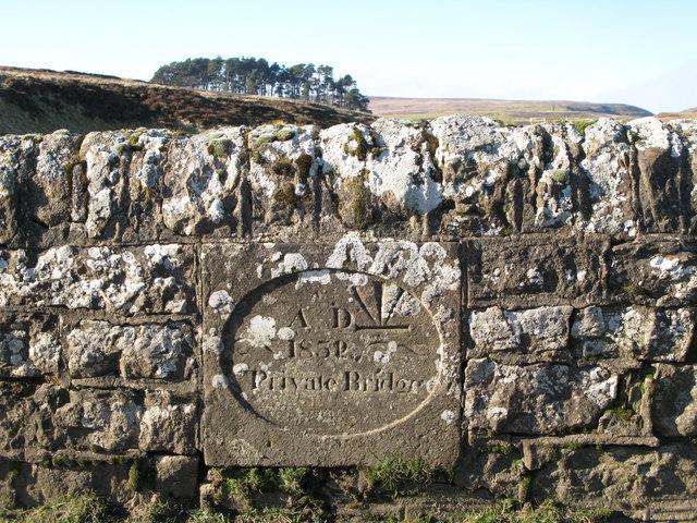 Inscribed stone on the bridge over Espy Sike