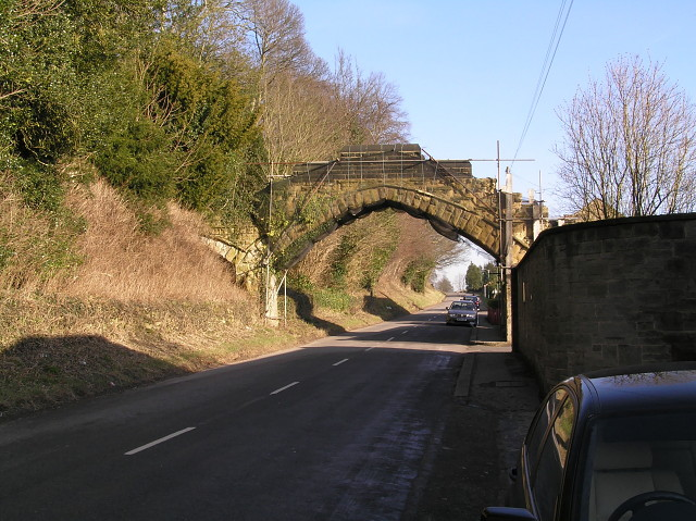 Stone bridge over the road at Ampleforth Abbey