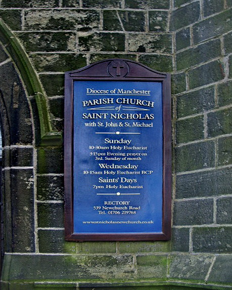 Parish Church of St Nicholas with St John & St Michael, Newchurch, Sign