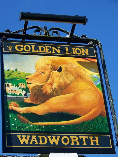 Sign for the Golden Lion, Winnall, Winchester
