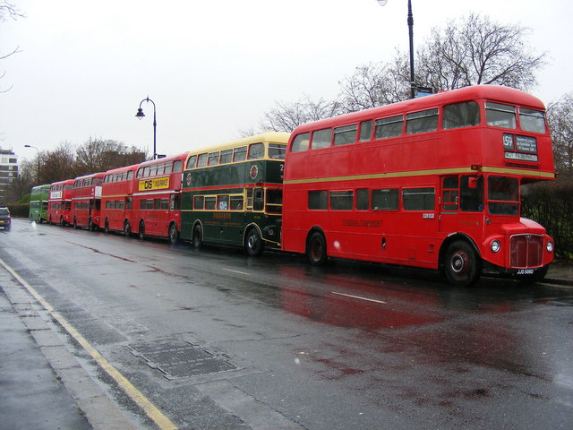 Seven Routemasters in a row!