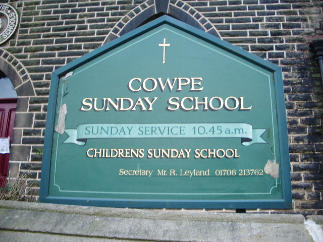Sunday School, Cowpe, Sign