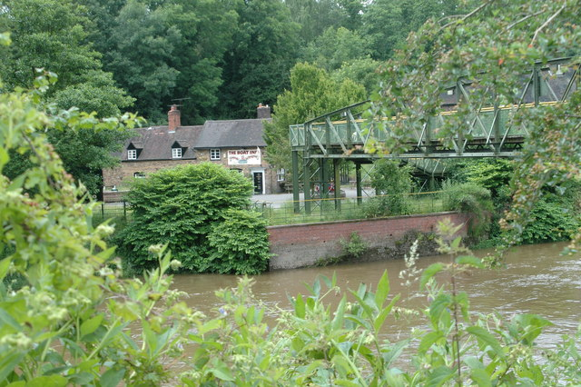 The Boat Inn and footbridge over the River Severn