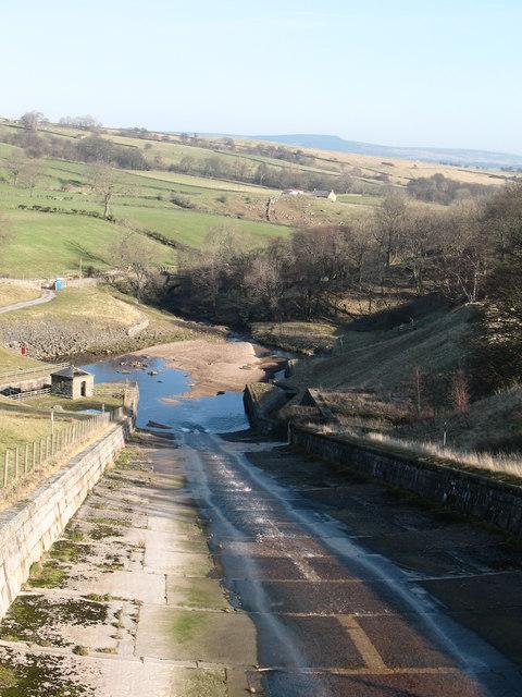 Hury Reservoir spillway