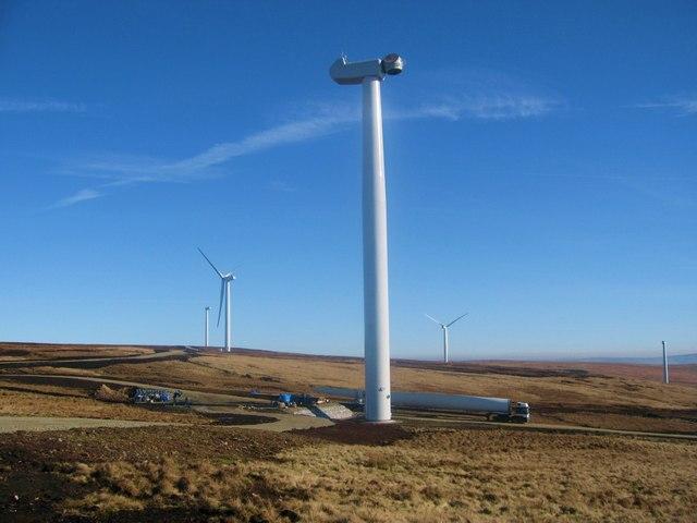Scout Moor Wind Farm under construction
