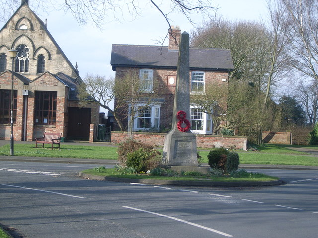 The war memorial with church behind