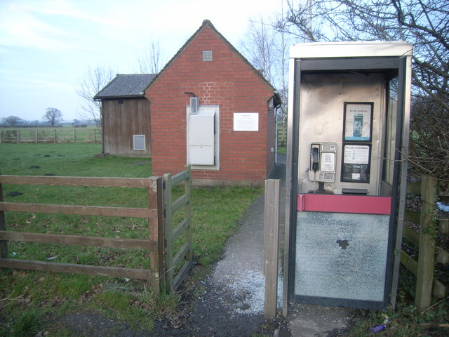Flaxton Moor telephone exchange and vandalised phone box