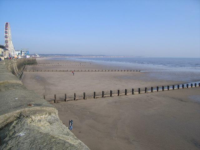 Beach at Bridlington and coastline