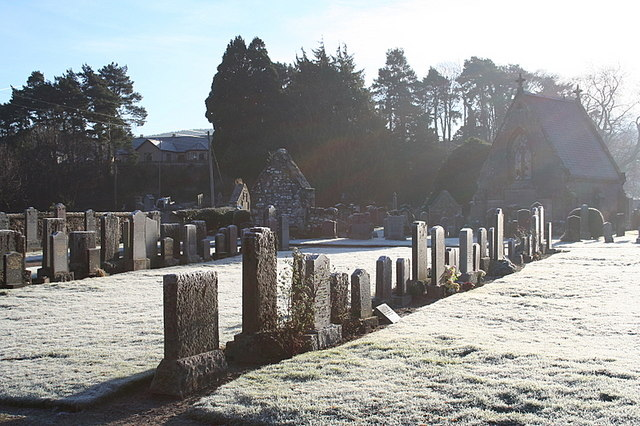 Cemetery at Aberlour on a frosty morning
