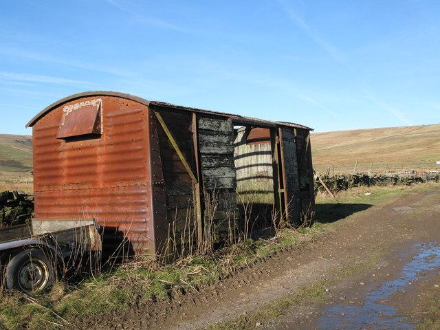 Old railway goods van near Whitley Hills