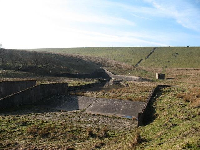 Concrete weir below Balderhead Reservoir