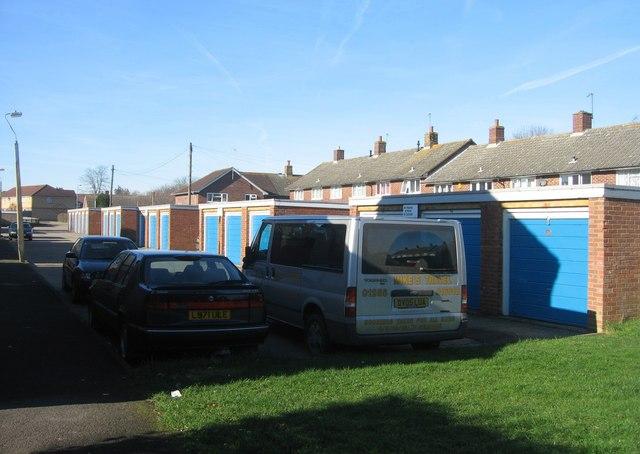 Garages behind housing in Pinkerton Road