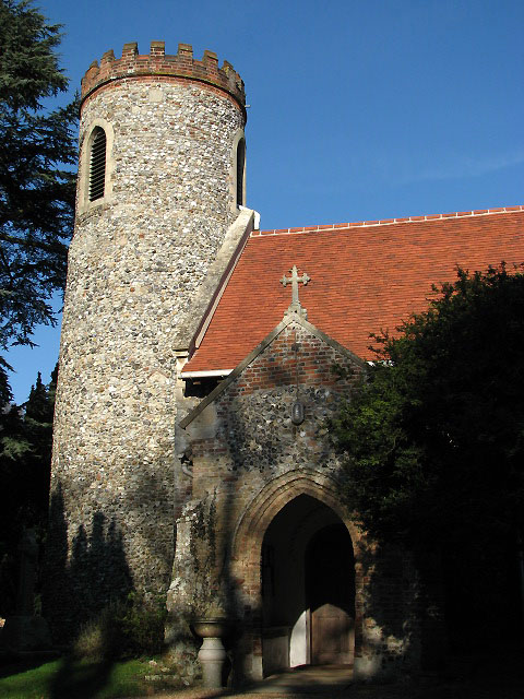 The church of SS Gervase and Protase - tower and porch