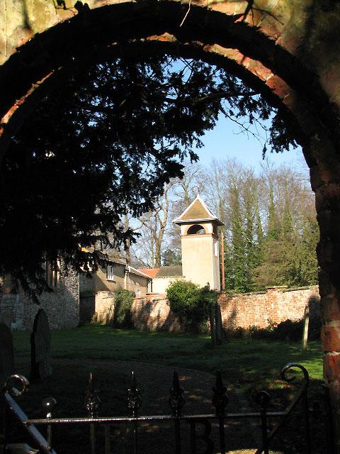 View through churchyard gate