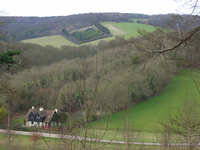 Cottages, pasture and woodland below Stokenchurch