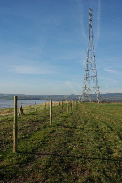 Pylons on the banks of the River Severn