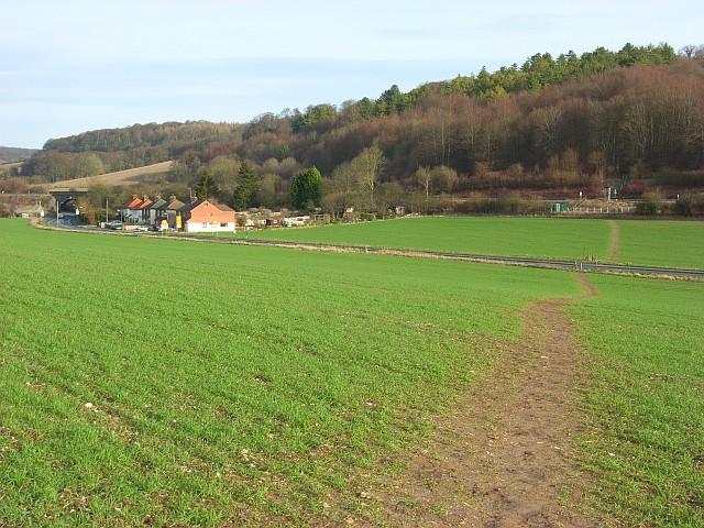 Farmland, footpath, woodland, houses and road, West Wycombe
