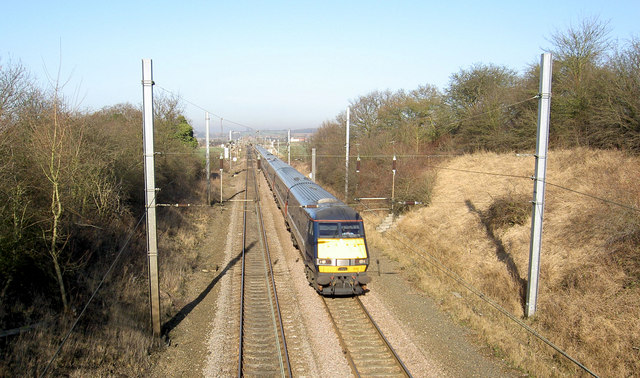 A National Express London bound train on the East Coast Main railway line