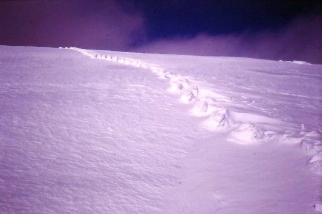 Raised footprints on Cairn Lochain