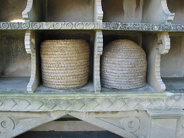 Skeps in the bee shelter at Hartpury