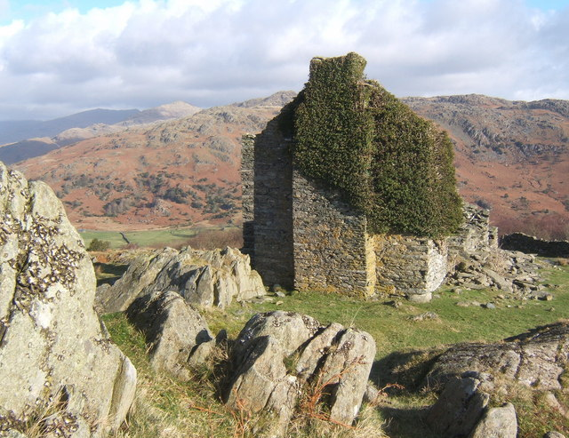 Rocky setting of Frith Hall, looking across the Duddon valley