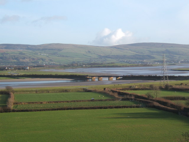 Distant view of Duddon railway bridge, from the northwest