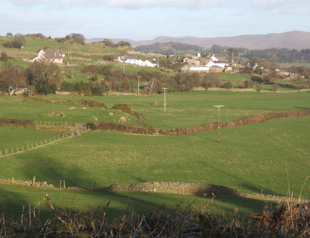 Looking across the fields towards Ladyhall in the next square