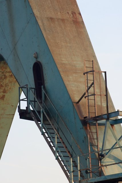 Close Up of One of the Legs of the Gantry Crane