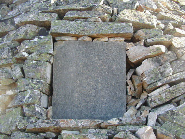 Inscribed tablet on the west side of the cairn