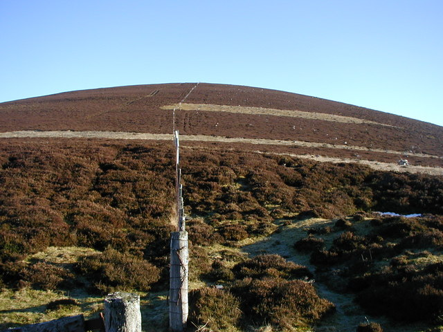 Fence boundary up to the summit of Carn Mór