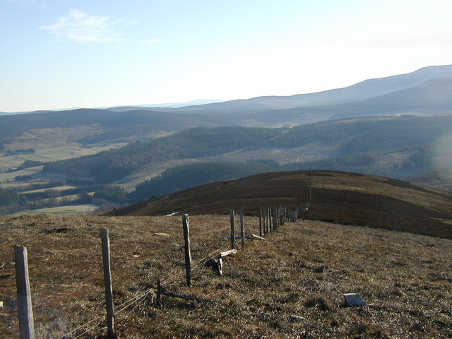 Fence boundary south east from the summit of Carn Mór