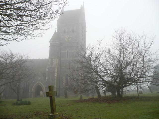 Ospringe church in the fog