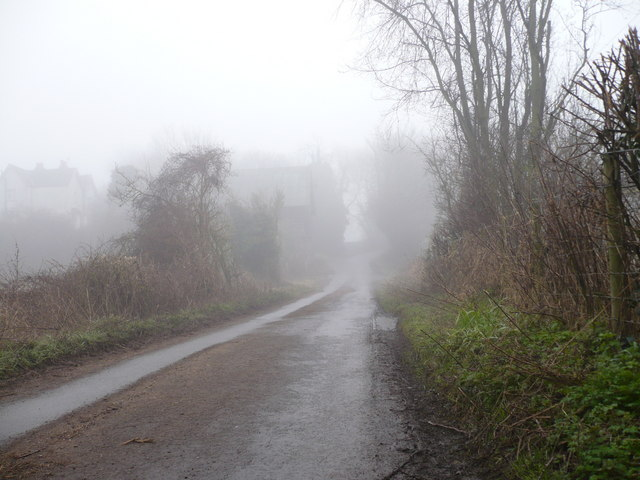 Vicarage Lane in the fog at the side of Queen Court Farm