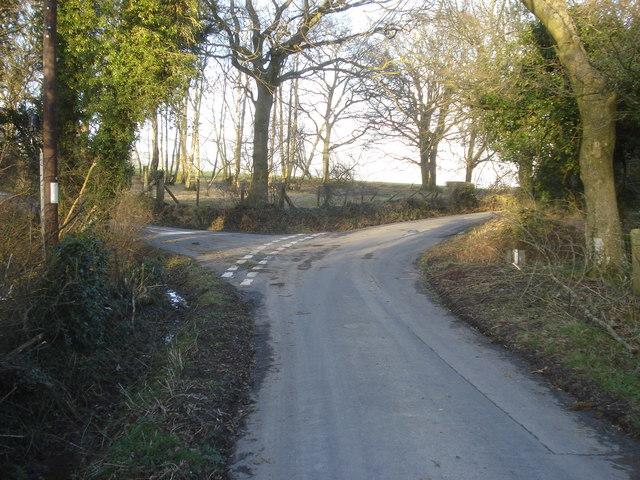 Lane junction near The Rhos