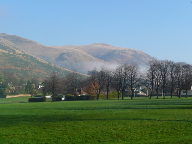 Across Alva Park to the Ochils