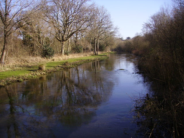 Barton Stacey -  River Dever Looking Upstream to Bullington