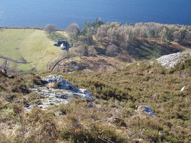 Looking down on Ardlair Lodge