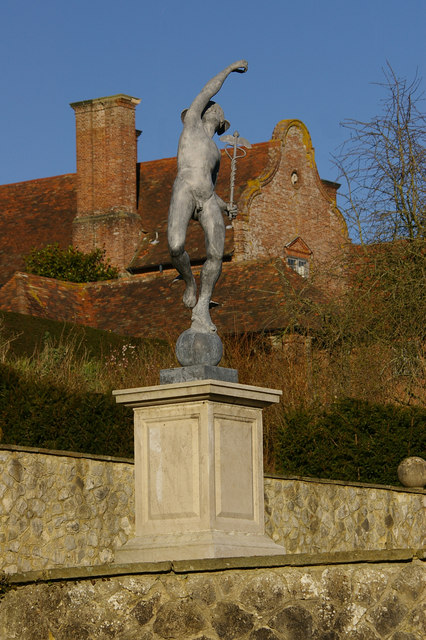 Port Lympne Mansion and statue of Hermes