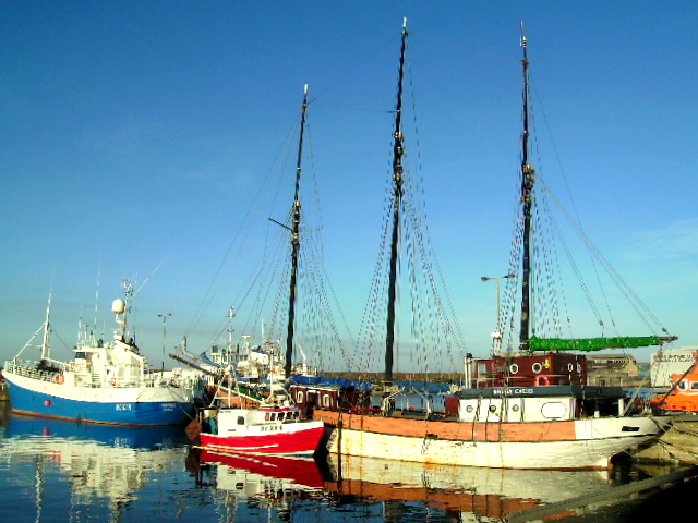 A Three Masted Barque at Buckie Harbour