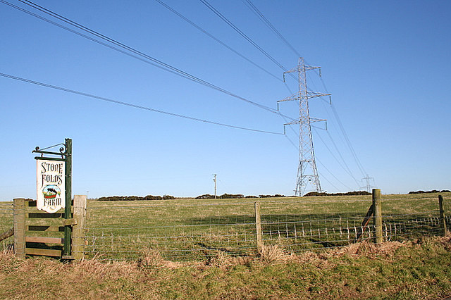 Power lines running through Stone Folds Farm