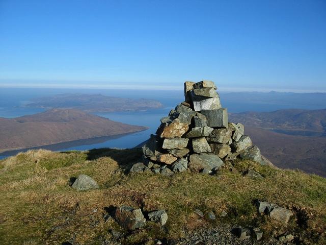 Summit cairn on Belig