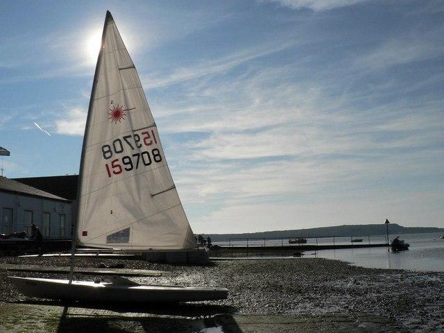 Mudeford: a yacht hides the sun