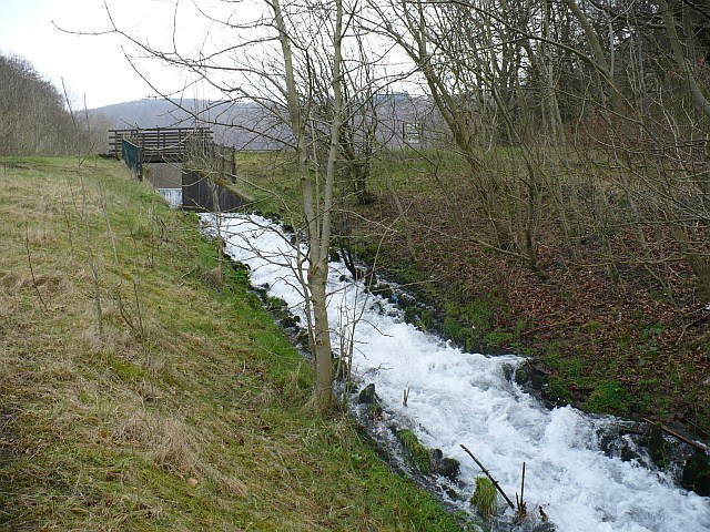 The outfall at Cwm Carn lake