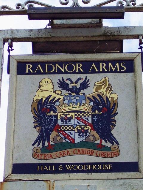 Sign for the Radnor Arms, Nunton