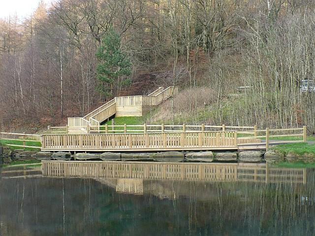 Viewing platform at the lake, Cwm Carn